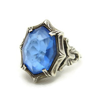 Art Deco Ring - Sterling Silver and Blue Glass, Estate Jewelry