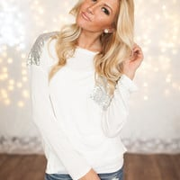 Long Sleeve Sequins Top White/Silver