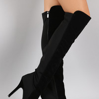 Dollhouse Suede Lycra Panel Stiletto Over-The-Knee Boots