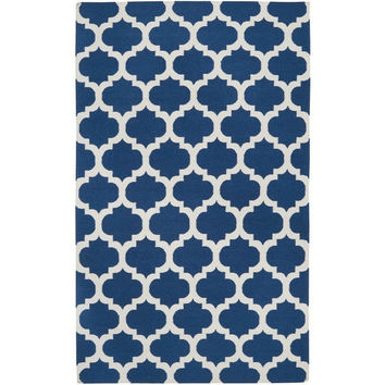 8' x 11' Handmade Wool Area Rug Flat Woven Blue White Lattice Pattern