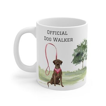 Official Dog Walker Mug — Chocolate Lab