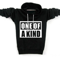 Letters Printed Korean Fashion Black Cotton Casual Pullover Hoodie S/M/L/XL/XXL (Size: L) = 1931646596