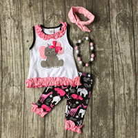 baby Girls Summer clothes children cute elephant top outfits baby girls elephant ruffle capri pant clothing with accessories