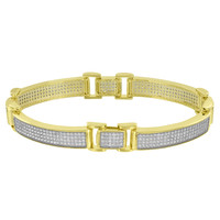 Yellow Gold Finish Designer Bracelet Mens Wear Classy Celeb Wear