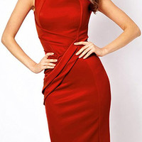 Red Skew Collar Sleeveless Bodycon Midi Dress