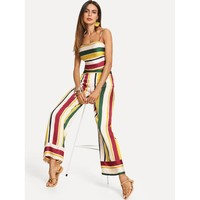 Striped Crop Cami Top & Wide Leg Pants Set