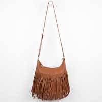 Large Fringe Faux Leather Hobo Bag Cognac One Size For Women 22342740901