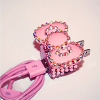 Iphone 4 pink bow bling charger