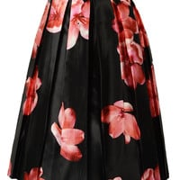 Black Pleated Floral Print Midi Skirt