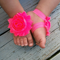 Baby Barefoot Sandals .. Neon Pink Flowers .. Toddler Sandals .. Newborn Sandals .. Baby Flower Sandals