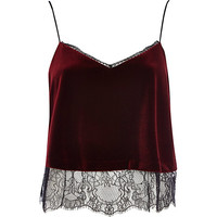 River Island Womens Red velvet lace cami top