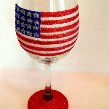 American flag wine glass