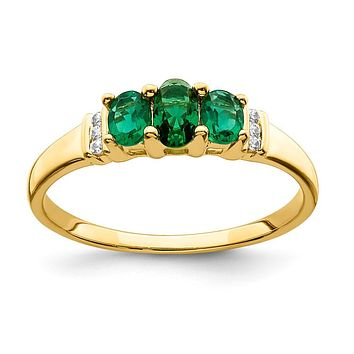 14K Yellow Gold Polished Triple Emerald and Real Diamond 3-stone Ring