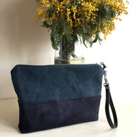 Black Suede Clutch,Waxed Canvas Clutch,Black Suede Bag,Zippered Canvas Bag,Leather Strap Clutch,Water Resist Clutch,Black Canvas Bag