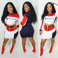Champion Popular Women Sexy Long Sleeve Crop Top Skirt Two-Piece