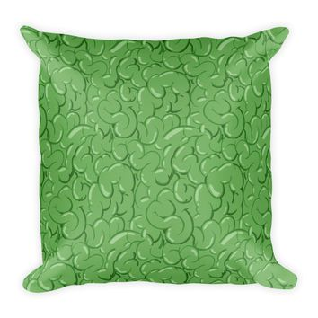Halloween Zombie Guts Green Square Pillow