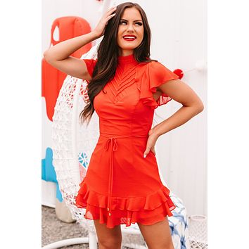 Chic Possibilities Ruffled Mock Neck Dress (Red)