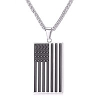Stainless Steel US Flag Necklaces Silver or Gold Color
