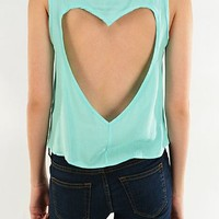 Mint Green Button Down Heart Cut-Out Back Flowy Top U.S.A