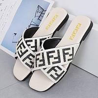 FENDI Summer Popular Women Leisure Flat Beach Sandal Slipper Shoes Beige White