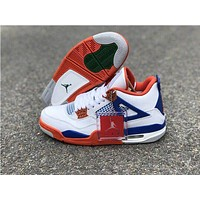 Air Jordan 4 Retro White/Blue/Orange Sneaker Shoes