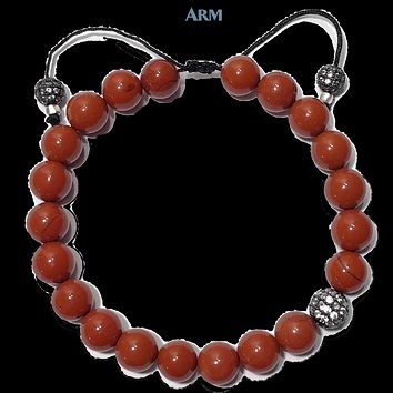PASSIONATE | Red Jasper | OFF CENTER CZ Diamond Ball | Pull-Tie Adjustable Bracelet