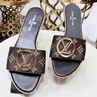Louis vuitton casual fashion logo printed gold button popular women's sandals slippers