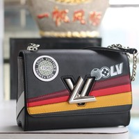 HCXX 19June 441 Louis Vuitton LV Fashion Studio Graphic Tape Handbag 23-18-8 black