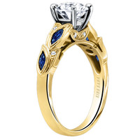 "Kirk Kara ""Dahlia"" Blue Sapphire Marquise Shaped Leaf Styled Engagement Ring"