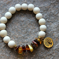 Baltic Amber Bracelet, Tree of Life & Wood Bracelet, Baltic Amber Jewelry, Natural Spiritual Jewelry, Gift for Woman, Gifts Under 30