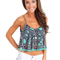 Aqua Pattern Over The Crop Top | Monday Dress Boutique