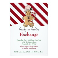 Candy Cane Gingerbread Cookie & Candy Exchange 5x7 Paper Invitation Card