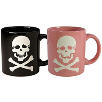 Waechtersbach Set of His and Her Black and Pink Skull Mugs   Overstock.com