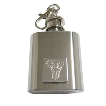 Silver Toned Etched Front Facing Elephant 1 Oz. Stainless Steel Key Chain Flask