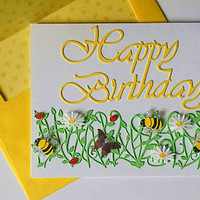 Happy Birthday Card with Bees, Flowers and Butterfly Border and Die Cut Happy Birthday - Birthday Car - Handmade Birthday Card