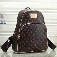 Louis Vuitton LV Women Fashion Leather Backpack Rucksack College Bookbag