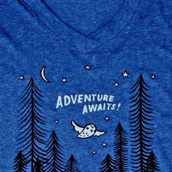 Adventure Awaits Women's Shirt -- V-Neck Tee (Blue)