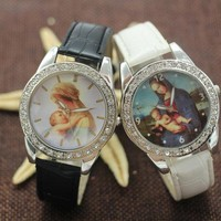 Retro Blessed Virgin Mary Embrace Santo Nino Watch Womens Mens Classic Christian Catholicism Religious Faith Watches