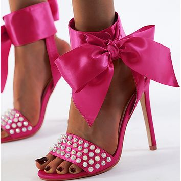 Hot style lady's bow-tie one-word buckle with low peep-toe, high-heeled sandals shoes