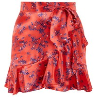 Red Floral Print Mini Skirt | Topshop