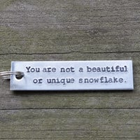 Fight Club Key Chain - Guys - Guy Gift - Snowflake - Pop Culture - Quote - Looks Like Silver - Unisex - Guys - Under 20 - Stocking Stuffer