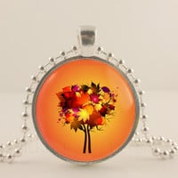 "Fall maple tree, 1"" round glass and metal Pendant necklace Jewelry."
