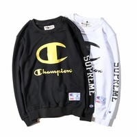 Champion Round Neck Letters Printed Long-Sleeved Sweater Coat