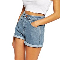 Europe Blue Crimping Denim Shorts For Women High Waist Shorts
