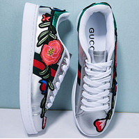 Gucci Fashion Classic Women Men Flower Bee Embroidery Old Skool Flat Sneakers Sport Shoes Silver I
