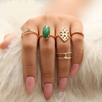 Jade Emerald Gemstone/ Pink Ruby Sapphire Ring Set