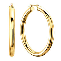10Kt Yellow Gold 3MM Shiny Round Tube Hoop Earrings