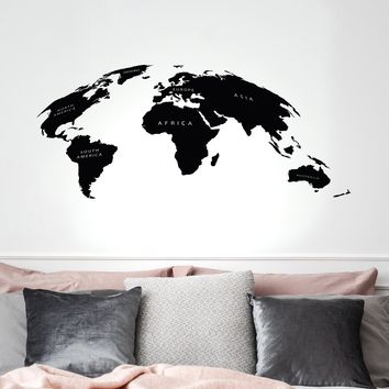 Vinyl Wall Decal World Map Atlas Travel Tourism Living Room Stickers Mural 35 in x 15.5 in gz271