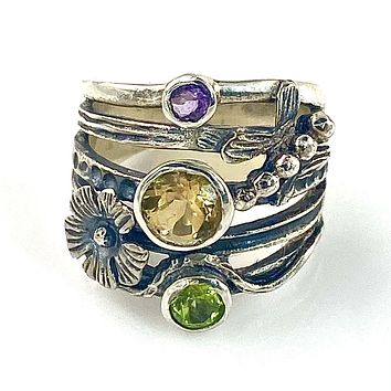 Colors of Summer Citrine, Amethyst & Peridot Sterling Floral Garden Ring