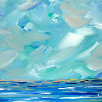 Blue Seascape Original Painting Abstract Coastal 16 x 20 Waves Ocean Landscape Modern Art Contemporary Painting